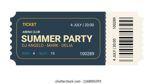 Fresh design Ticket Vector template for invitation, event, concert, music festival, movie festival, show, performance, etc.