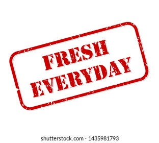 Fresh everyday red rubber stamp vector isolated
