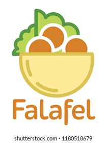 Fresh falafel in pita logo. Traditional middle east meal. Jewish, arabic cuisine. Vector icon isolated on white background.