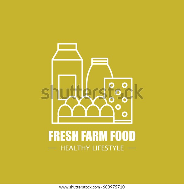 Fresh farm food vector logo design template. Modern linear branding element for healthy lifestyle company or food manufacturer. Dairy elements illustration