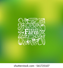 Fresh farm label with fruit and vegetables on a mesh background. Vector illustration.