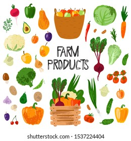 Fresh farm product. Set of hand drawn vector fruit and vegetables  isolated on white background. Flat cartoon illustration. Healthy vegan food. Farm products. Autumn harvest.
