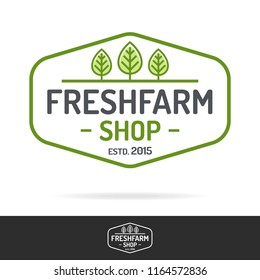 Fresh farm shop logo set color line style isolated on background for healthy food market, farming product, organic company, vegan cafe, eco store, nature firm, garden. Vector 10 eps