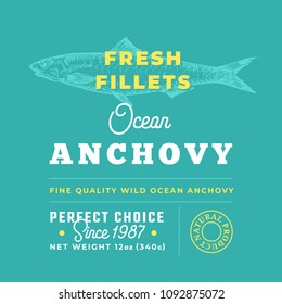 Fresh Fillets Premium Quality Label . Abstract Vector Fish Packaging Design Layout. Retro Typography with Borders and Hand Drawn Anchovy Silhouette Background.
