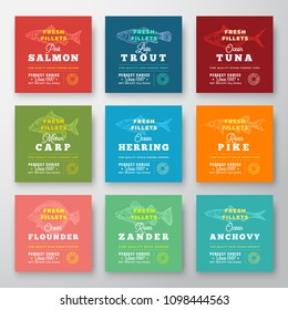 Fresh Fillets Premium Quality Labels Set. Abstract Vector Fish Packaging Design Layout. Retro Typography with Borders and Hand Drawn Fish Silhouette Background.