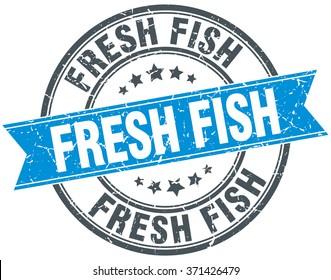 fresh fish blue round grunge vintage ribbon stamp