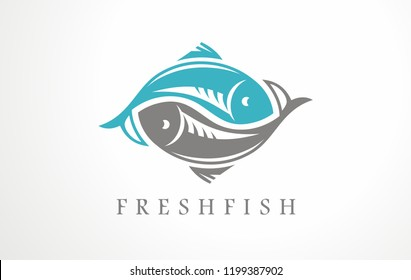 Fresh fish logo design idea for fish merchant or seafood restaurant. Vector symbol.