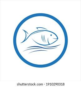 fresh Fish logo template icon vector illustration design