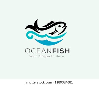 Fresh fish logo with wave water