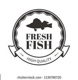 Fresh fish ribbon and decorative wavy thin rim in monochrome vector sea creature silhouette rounded logo. Illustration for seafood restaurant promo.