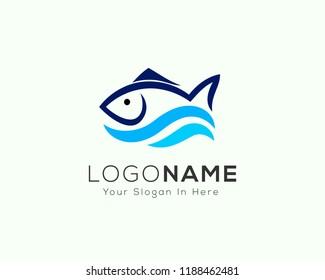 Fresh fish with wave water logo