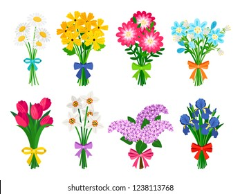 Fresh flowers bouquets. Summer bouquet set isolated, woman flowers gift, tulips and daisies, lilacs and daffodils spring bunches vector illustration