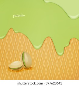 fresh, flowing pistachio ice cream over wafer pattern. vector dessert background. closeup natural food wallpaper design. bakery menu decoration with drip fruit cream and biscuit
