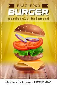 Fresh flying hamburger with ingredients. Poster design. Vector 3d illustration on orange background.