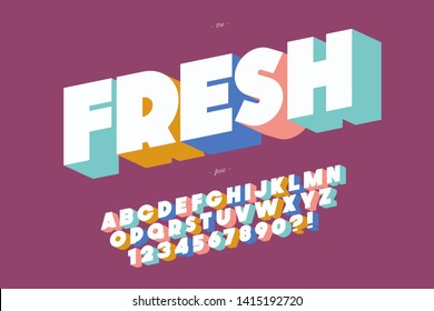 Fresh font 3d bold style cute color for summer party, kids poster, book, t shirt, flier, decoration, card, sale banner, printing on fabric, industrial. Cool typeface. Trendy alphabet. Vector 10 eps