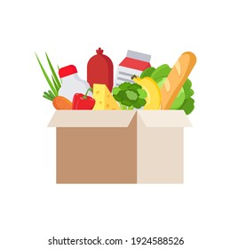 Fresh food in cardboard box, isolated, white background. Vector flat illustration of cardboard box with food, fruit and drinks. Various food and beverages. Fruits, vegetables, ham, cheese, bread, milk