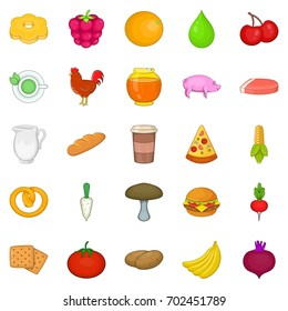 Fresh food icons set. Cartoon set of 25 fresh food vector icons for web isolated on white background