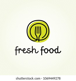Fresh Food logo design template. Vector color hand like illustration background. Graphic fork icon symbol for cafe, restaurant, cooking business. Modern linear catering label, emblem, badge in circle