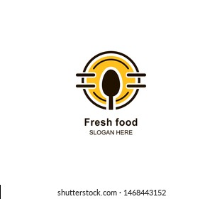 Fresh Food logo design template. spoon logo Vector illustration. Symbol graphic spoon icon for cafes, restaurants, cooking business. Modern linear catering labels, symbols, badges in circles