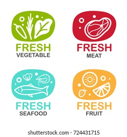 Fresh food logo sign with vegetable meat seafood and fruit vector design