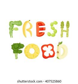Fresh food vegetables letter. Healthy vector