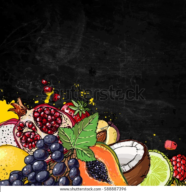 Fresh food. Watermelon, cantaloupe, pomegranate, apricot, persimmon line drawn on a black background. Vector illustration. Slate blackboard in the background.