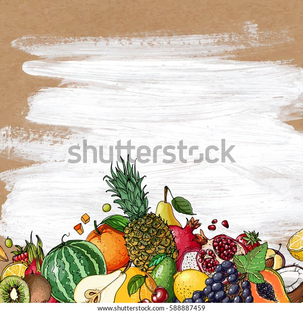 Fresh food. Watermelon, cantaloupe, pomegranate, apricot, persimmon line drawn on a kraft paper in the background.. Vector illustration.