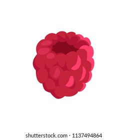 Fresh forest small rich crimson berry applique isolated. Flat pastel raspberry without fruit-stalk depiction as cartoonish material illustration.