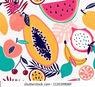 Fresh frouit tropical seamless pattern  illustration