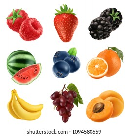 Fresh fruit. 3d vector icons set. Realistic illustration