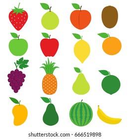 Fresh Fruit Icon Collection Set Vector Design Stock Image. Fruit Collection such as Strawberry, Guava, Peach, Kiwi, Apple, Lemon, Orange, Pineapple, Pear, Lime, Mango, Watermelon, Banana