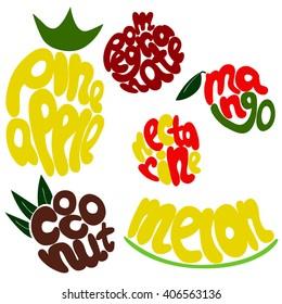 Fresh fruit lettering vector set. Sweet fruit lettering. Hand drawn fruit names. Vector lettering fruit titles. Coconut lettering. Pineapple lettering. Melon lettering. Mango lettering. Lettering font