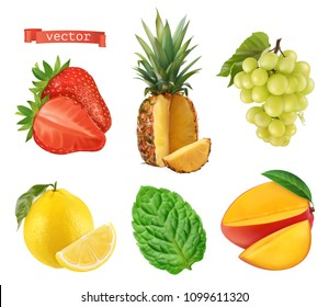 Fresh fruit. Strawberry, pineapple, grapes, lemon, mint and mango. 3d vector icons set. Realistic illustration