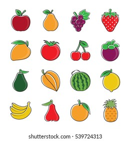 fresh fruit vector illustrations icons set.