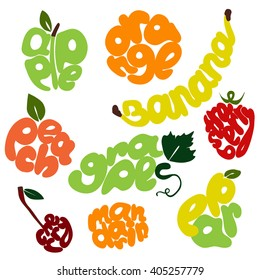 Fresh fruit vector lettering set. Hand written fruit titles. Word banana written by hand. Banana lettering. Juicy lettering. Apple lettering. Grapes lettering. Creative lettering.  Bright lettering