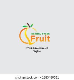 Fresh fruit vector logo design, Healthy Fresh fruit Creative logo design