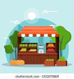 Fresh Fruit Vegetable Store Stall Stand Grocery in Market Illustration