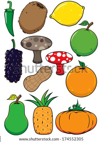 fresh fruit vegetable vectors starting letters stock vector (royalty