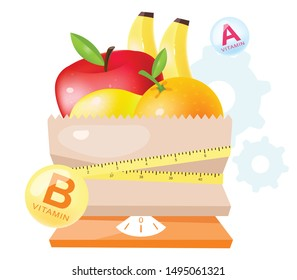 Fresh fruits in dietary nutrition flat vector illustration. Cartoon apple, orange, banana in paper bag with flexible measuring tape and scales isolated on white background. Vegetarian diet ingredients