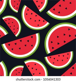 Fresh fruits, hand drawn backdrop. Colorful wallpaper vector. Seamless pattern with ripe watermelons, hearts. Decorative illustration, good for printing. Overlapping background design