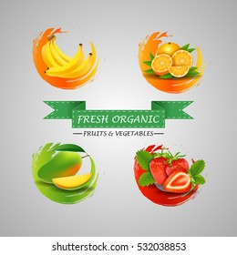 Fresh Fruits Icons. vector illustration