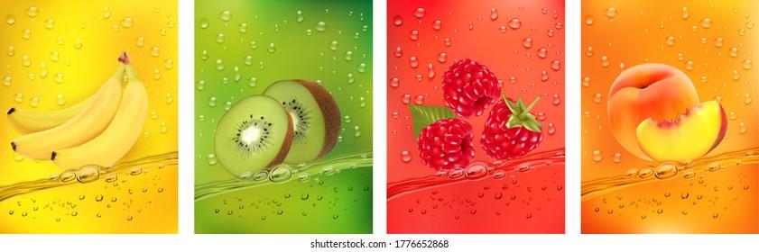 Fresh fruits juice splashing together- banana, kiwi, peach, raspberry juice drink splashing. 3d fresh fruits. Vector illustration