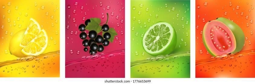 Fresh fruits juice splashing together- guava, blackberry, citron, lime juice drink splashing. 3d fresh fruits. Vector illustration