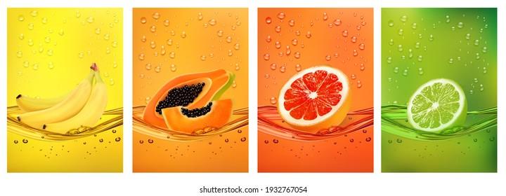 Fresh fruits juice splashing together- banana, lime, papaya, grapefruit juice drink splashing. 3d fresh fruits. Vector illustration