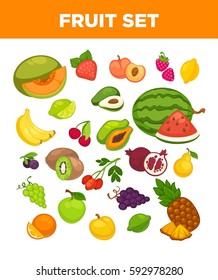 Fresh fruits set of watermelon and melon, exotic mango or papaya and pineapple. Vector isolated icons of apple or pear, grape and tropical guava or banana and cherry berry