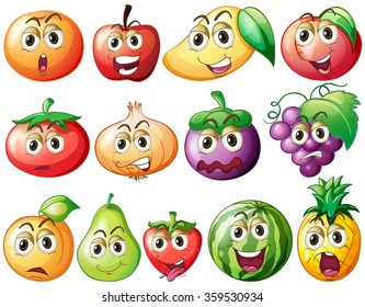 Fresh fruits and vegetables with face illustration