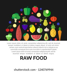 Fresh fruits and vegetables icons. Colorful round composition of vegan and raw food.