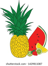 Fresh and Fun summer fruit. Pineapple, watermelon, lemon, lime, kiwi, and strawberry drawing.  Perfect for notebooks, scrapbooking, tshirts and more