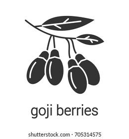 Fresh goji berries glyph icon. Silhouette symbol. Negative space. Vector isolated illustration