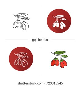 Fresh goji berries icon. Flat design, linear and color styles. Goji tree branch. Isolated vector illustrations